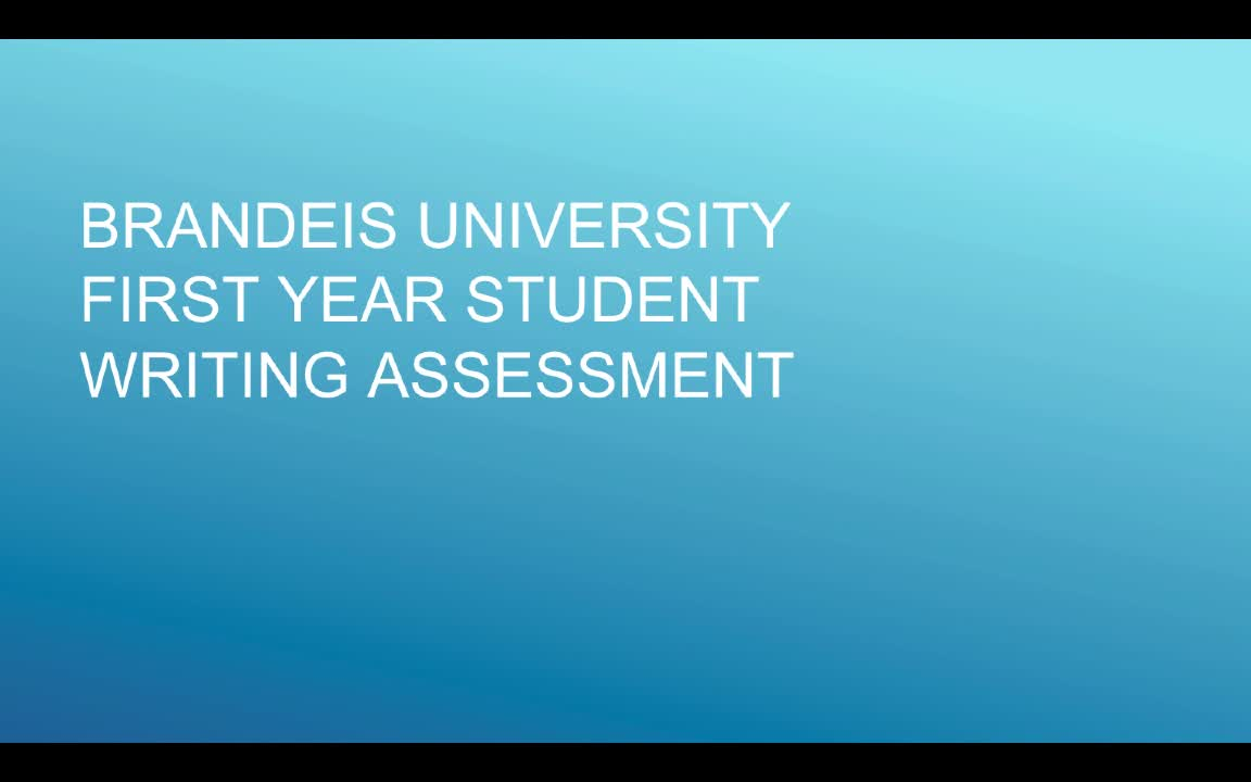 Brandeis Writing Assessment 2019