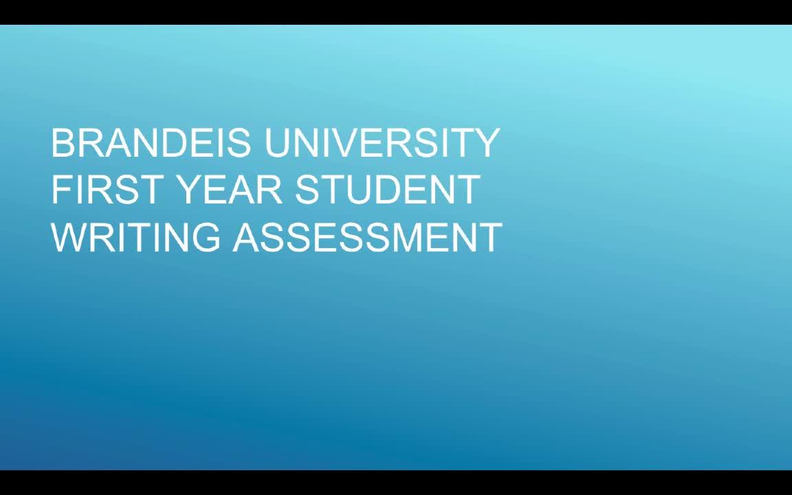 Brandeis Writing Assessment 2019